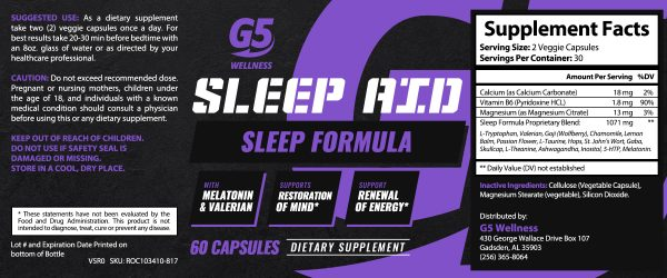 G5 Wellness Sleep Aid Label