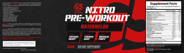 G5 Wellness Pre-Workout Watermelon Flavor