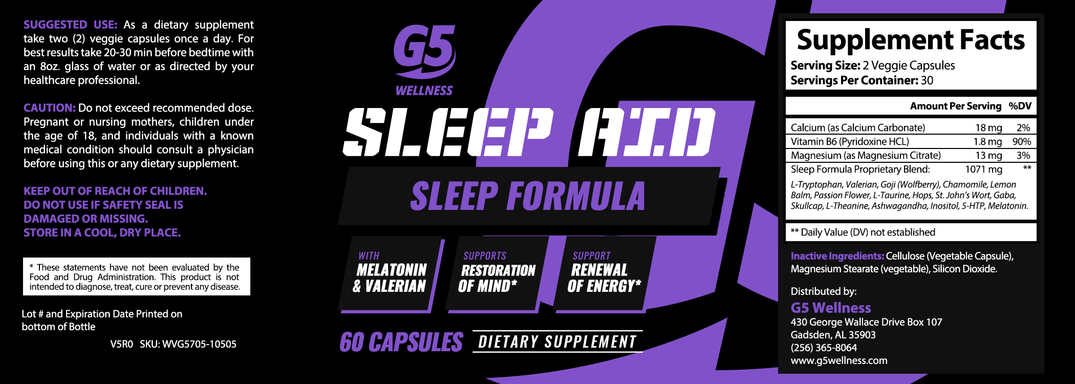 G5 Wellness Sleep Aid Label